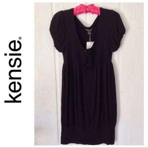 KENSIE BLACK KNIT SHORT SLEEVE SWEATER DRESS LARGE
